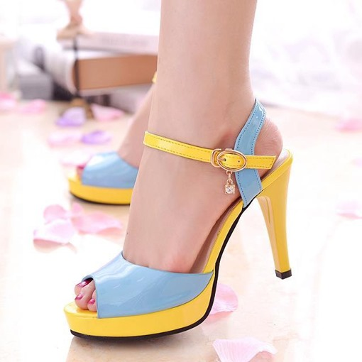 Ankle Strap Stiletto Heel Peep Toe Color Block Women's Sandals