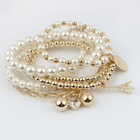 Multilayer Tower Pendant Pearl Bracelet