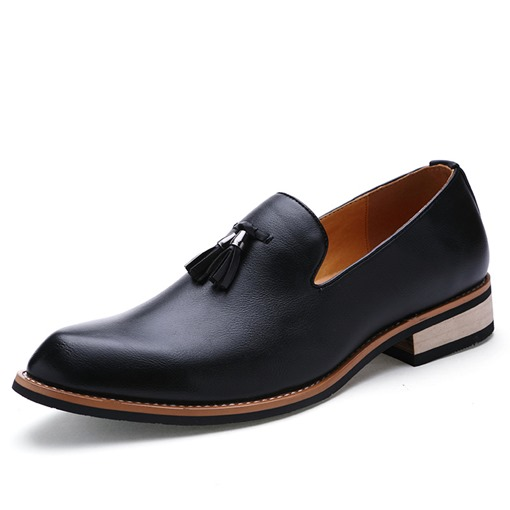 Pointed Toe Tassel Square Low Heel Low-Cut Men's Oxfords