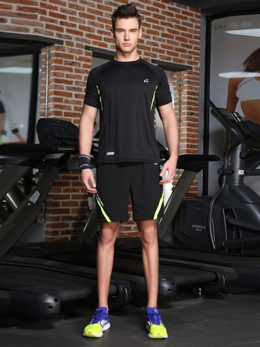Short Sleeve and Shorts Sports Running Two Pieces Suit