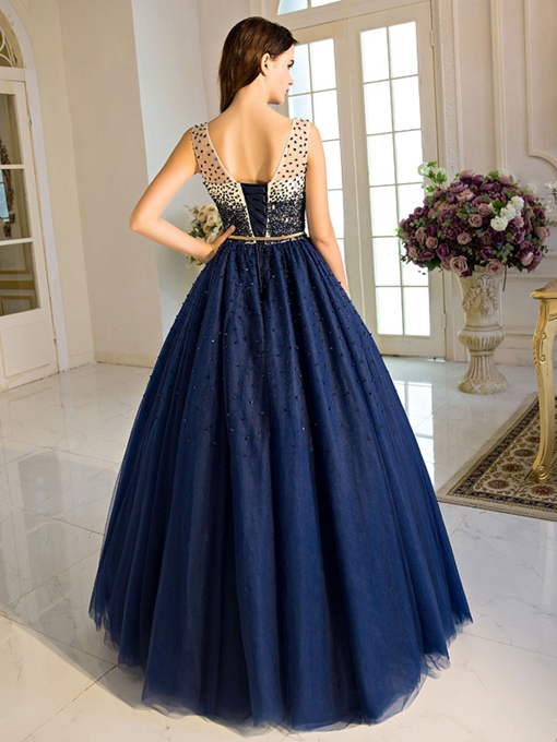 Scoop Ball Gown Beading Pearls Sashes Long Quinceanera Dress