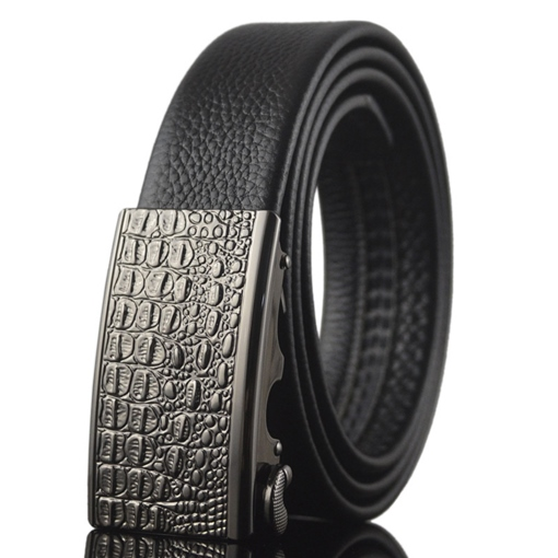 Black Artificial Leather Automatic Buckle Men's Belt