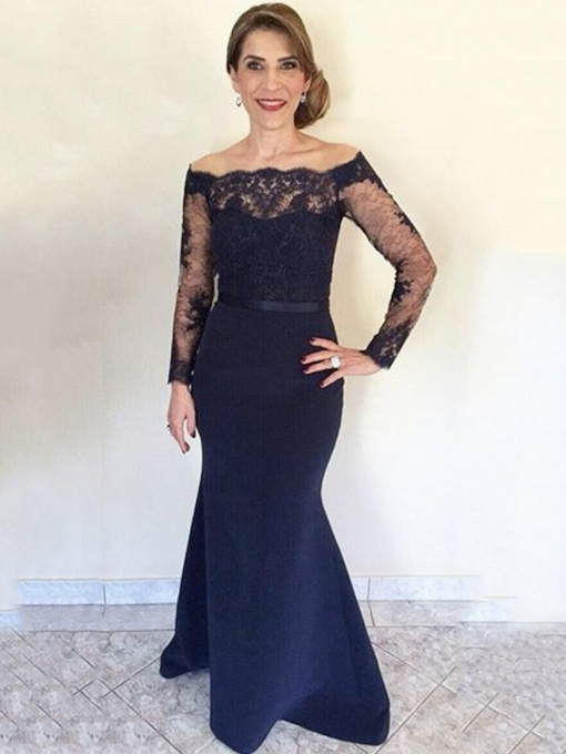 Mermaid Lace Long Sleeves Mother of the Bride Dress