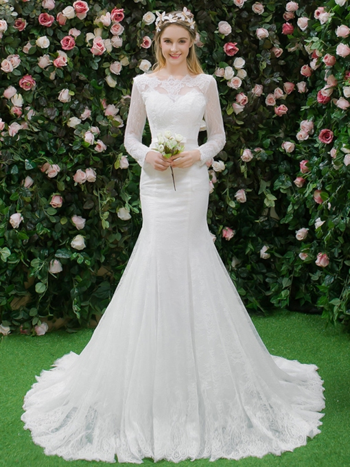 Long Sleeves Button Mermaid Lace Wedding Dress