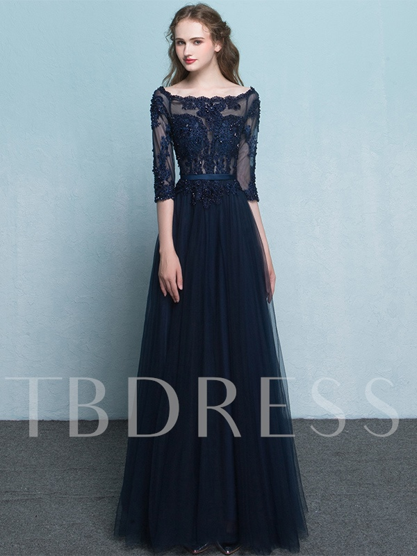 Image of 3/4 Length Sleeves Appliques Beading Lace Floor-Length Evening Dress