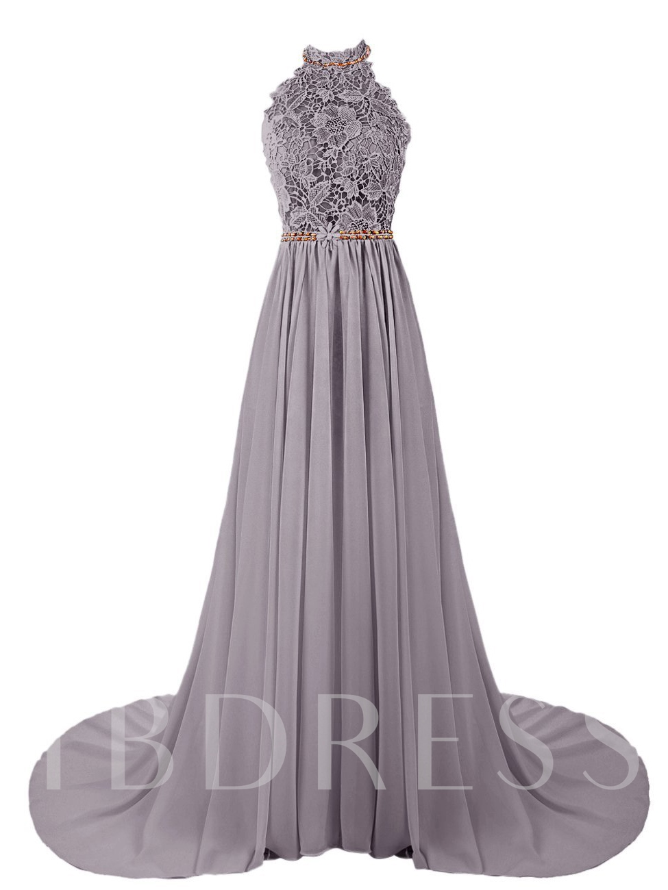 Image of A-Line Halter Beading Lace Court Train Prom Dress