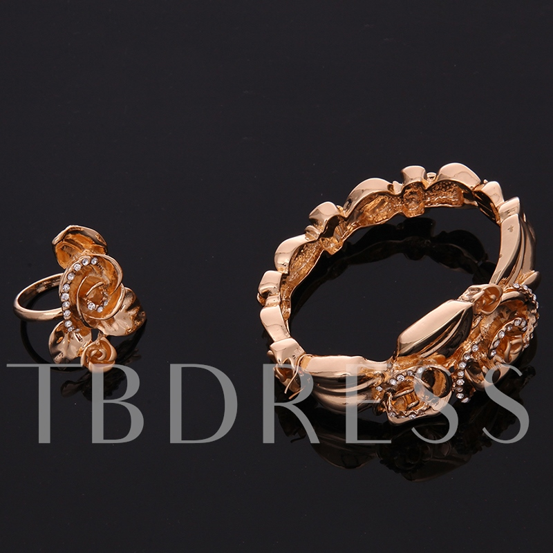 Party Alloy Flowers Four Pieces Jewelry Set