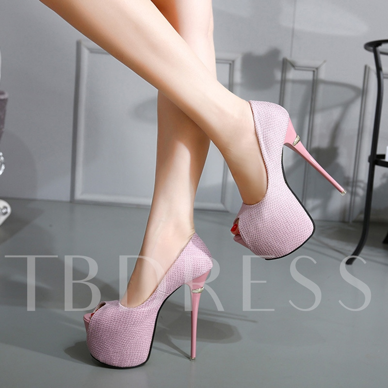 Peep Toe Slip-On Plain Platform Stiletto Ultra-High Heel Women's Sandals