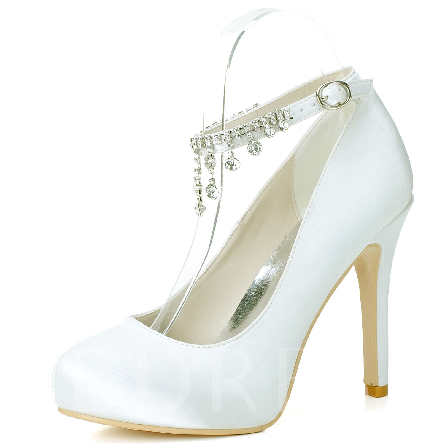 Round Toe Stiletto Heel Buckle Plain Rhinestone Women's Wedding Shoes