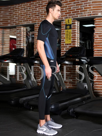 Short Sleeve Set Fitness Blue Sports Suit