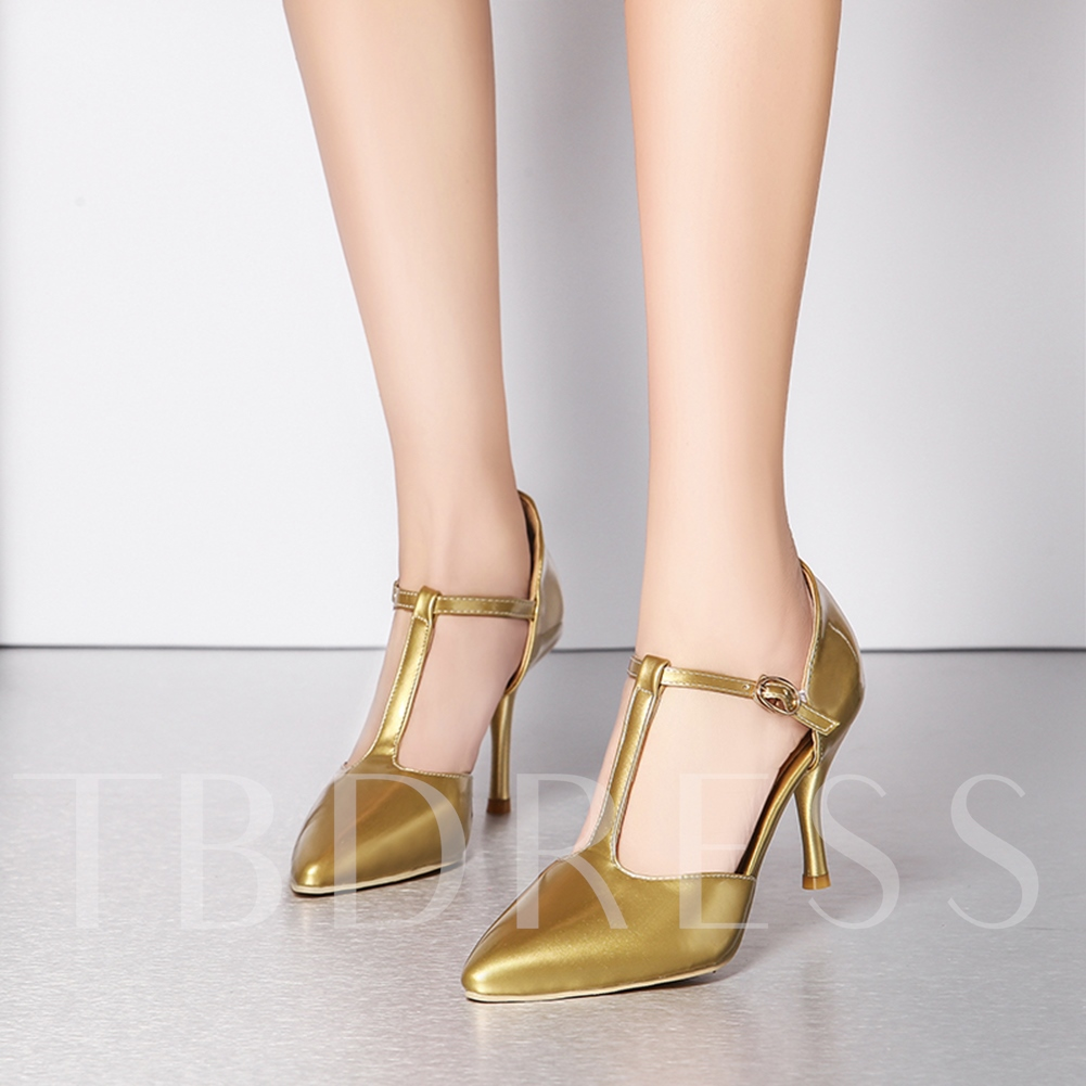 T-Shaped Buckle Plain Stiletto Heel Pointed Toe Women's Pumps