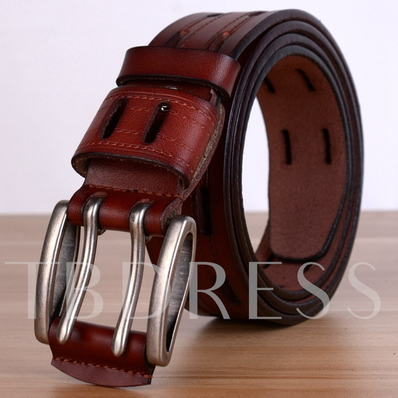 Metal Pin Buckle Men's Artificial Leather Belt
