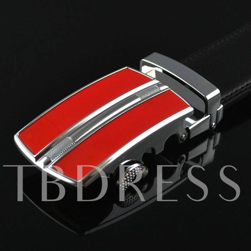 Red Automatic Buckle Design Men's Belt