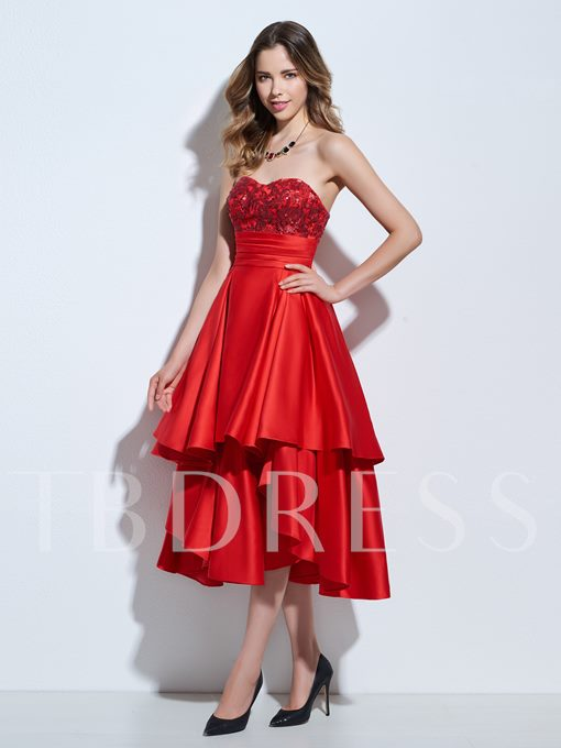 Asymmetry A-Line Ruched Sweetheart Appliques Sequins Cocktail Dress