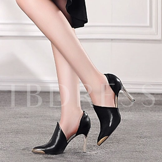 Patchwork Pointed Toe Slip-On Patchwork Stiletto Heel Women's Pumps