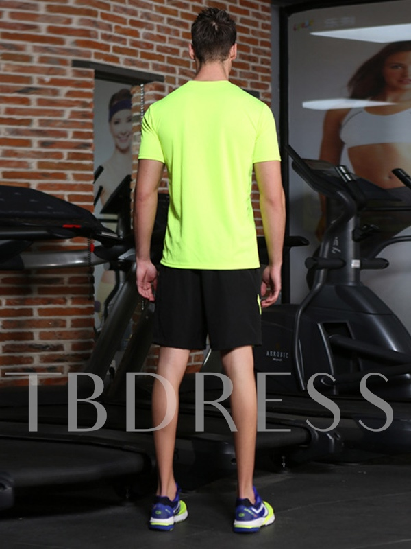 Light Green Short Sleeve and Shorts Sports Running Two Pieces Suit