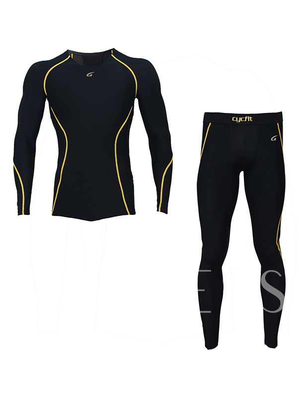 Line Print Quick-Dry Men's Sports Suit Long Sleeve and Pants