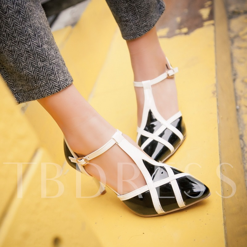 Pointed Toe T-Shaped Buckle Stiletto Heel Women's Pumps