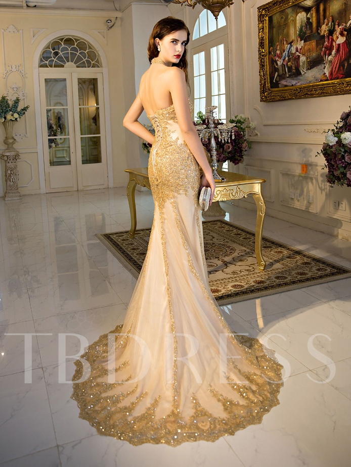 Halter Sequins Appliques Mermaid Evening Dress