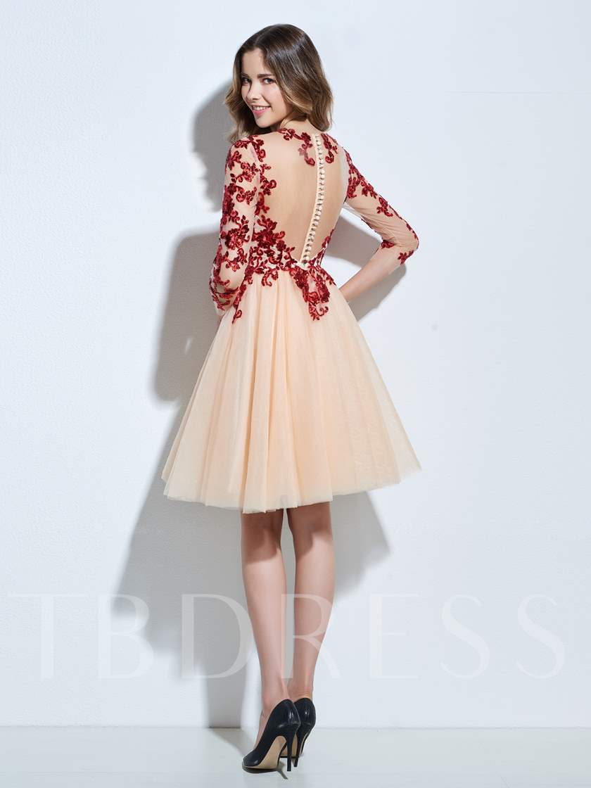 A-Line Scoop 3/4 Length Sleeves Appliques Sequins Knee-Length Cocktail Dress