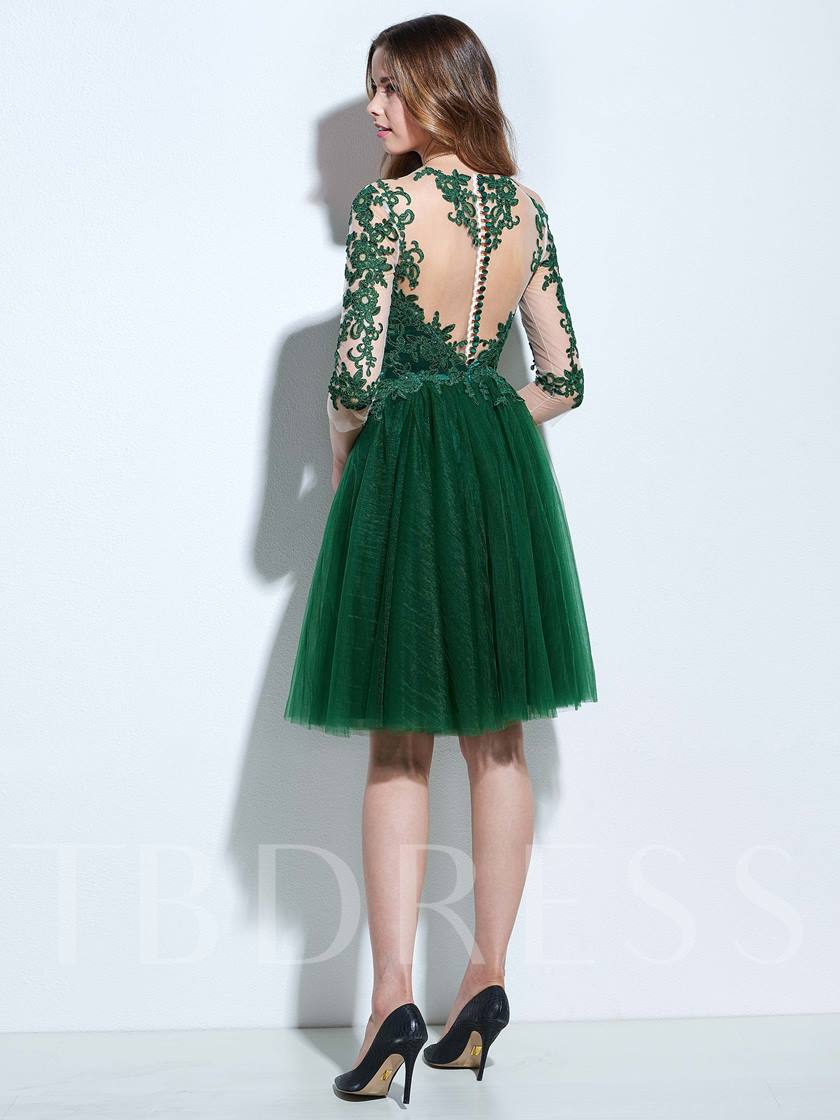 A-Line Scoop 3/4 Length Sleeves Appliques Button Knee-Length Cocktail Dress