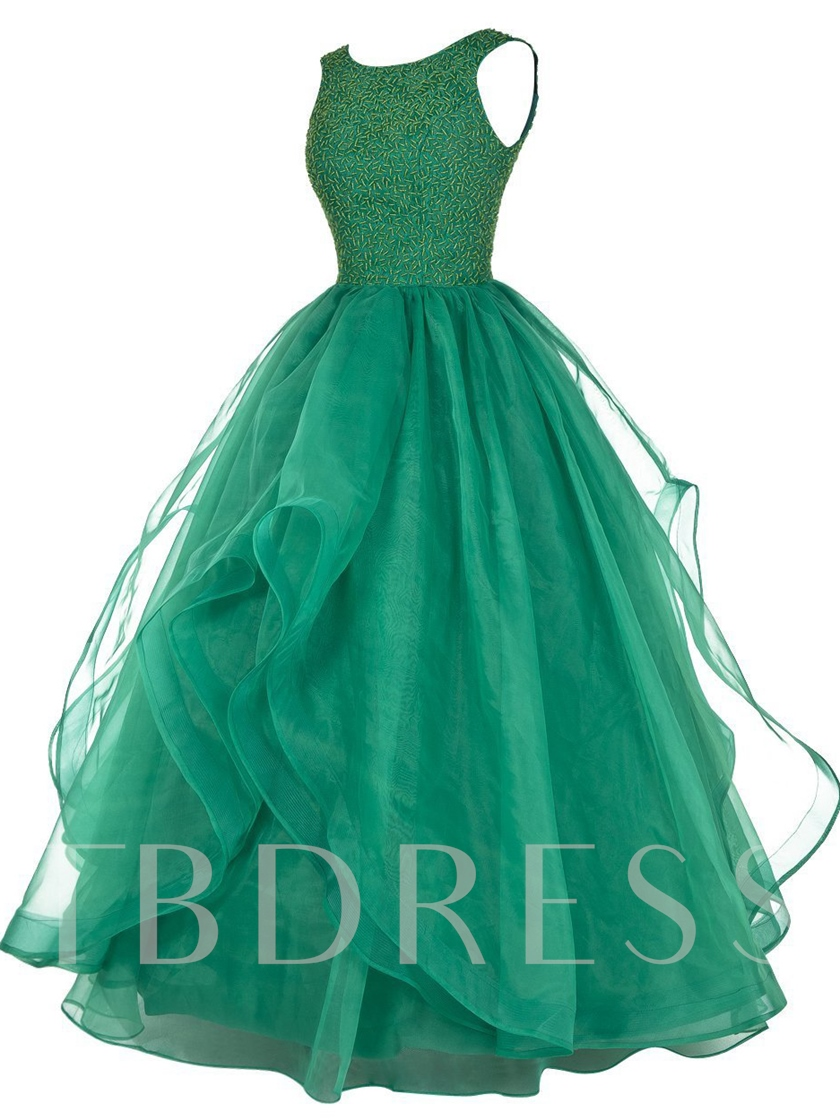 A-Line Lace Scoop Beading Floor-Length Prom Dress