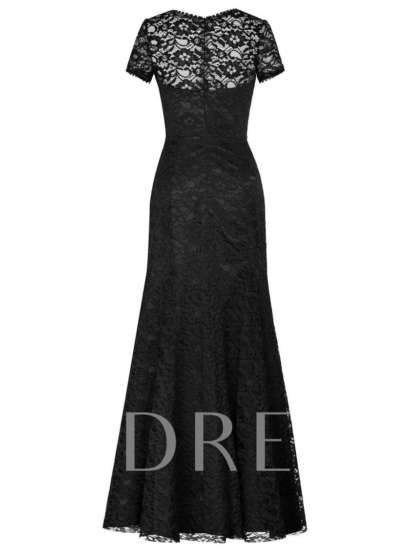 Scoop Neck Short Sleeves Lace Mermaid Mother Of The Bride Dress