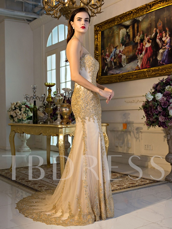 Trumpet Halter Lace Sequins Court Train Evening Dress