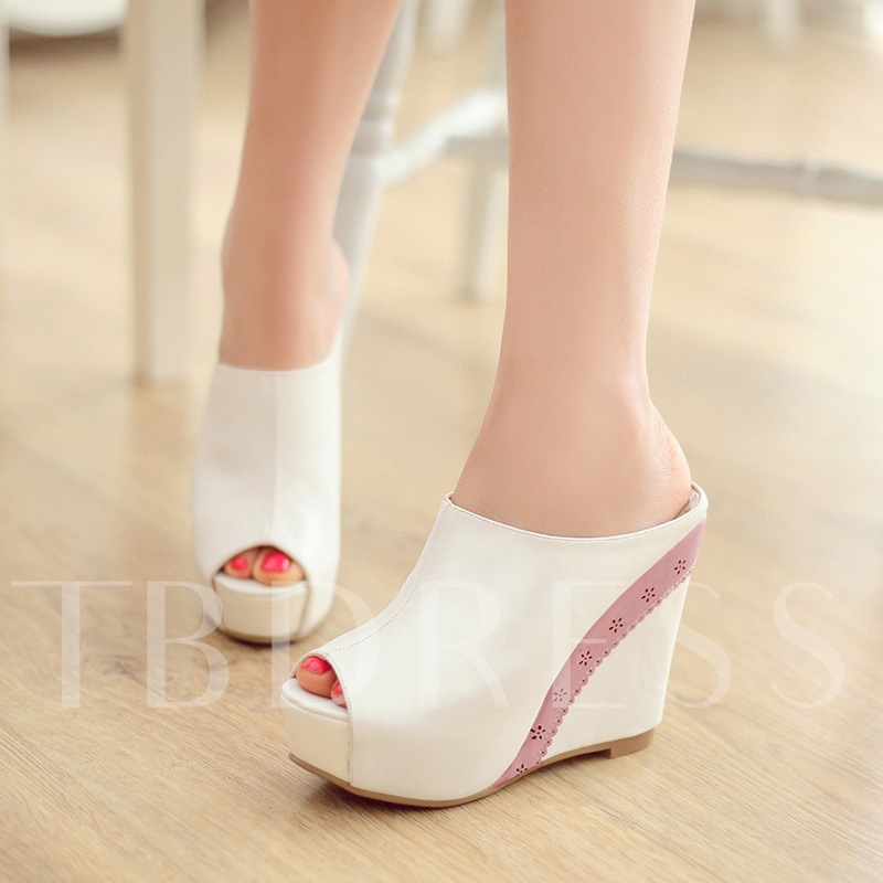 Buy Slip-On Platform Wedge Heel Contrast Color Women's Sandals, Spring,Summer,Fall, 12211572 for $40.99 in TBDress store