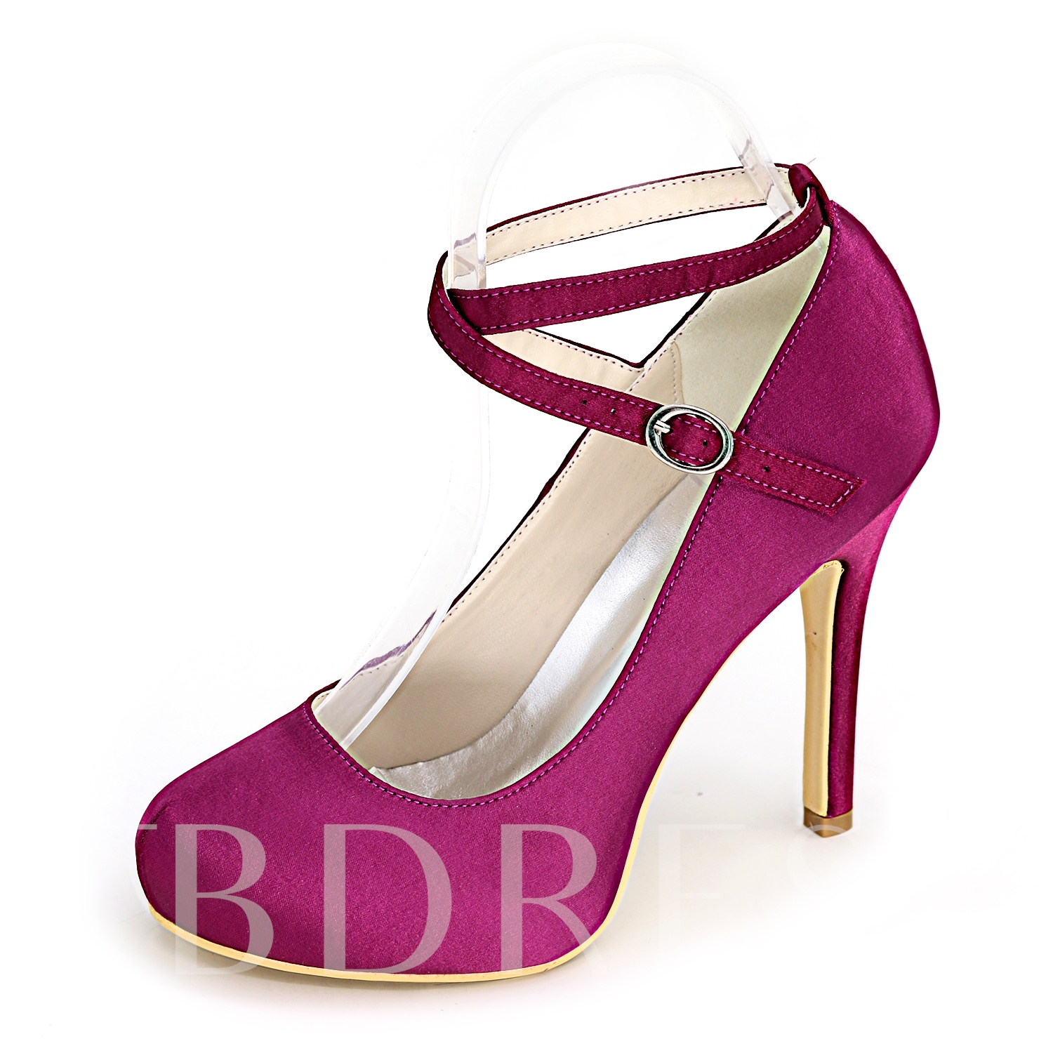 Round Toe Buckle Stiletto Heel Plain Women's Wedding Shoes