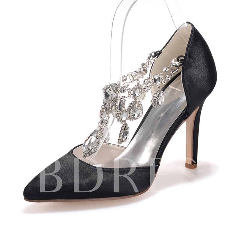 Pointed Toe Buckle Plain Rhinestone Women's Pumps