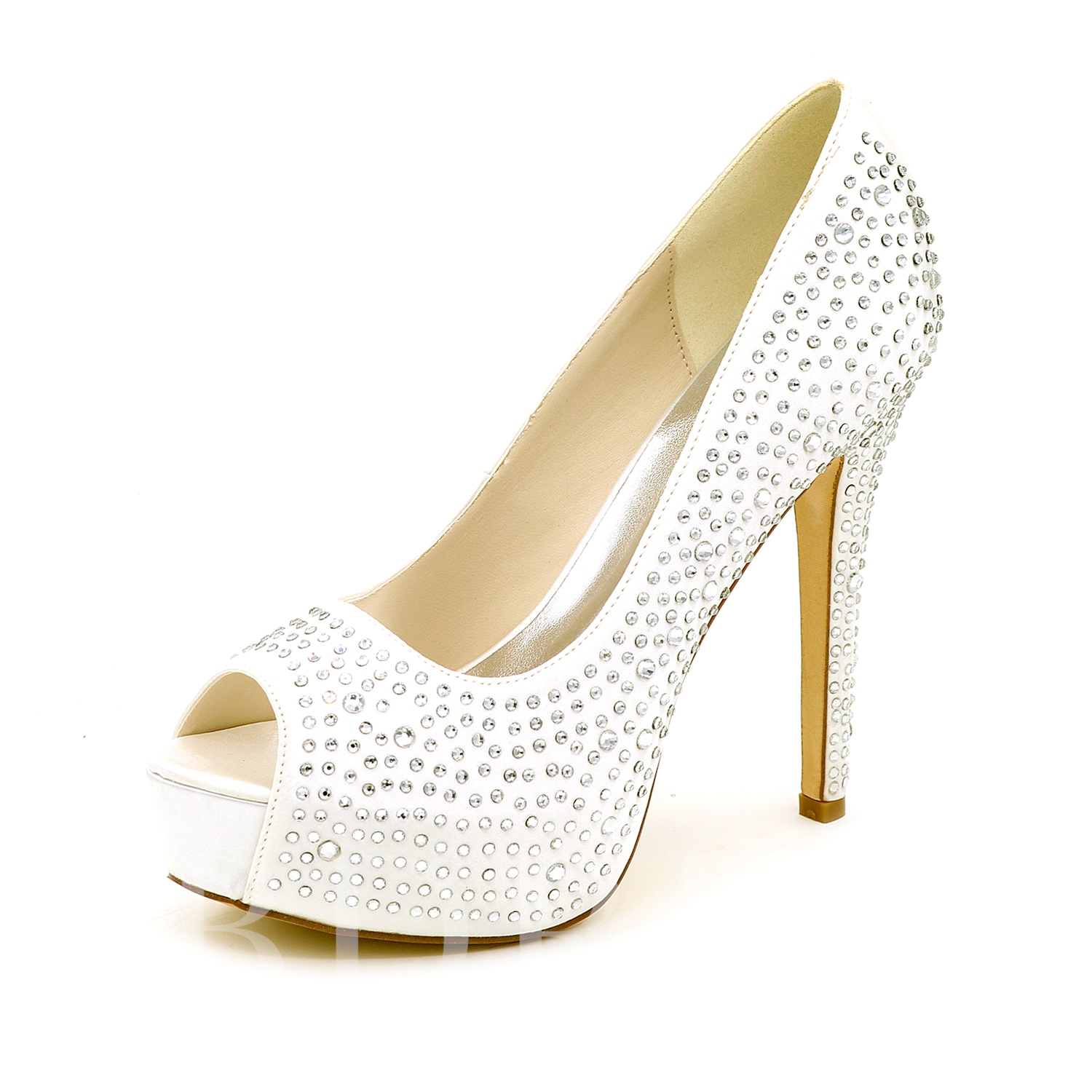 Buckle Stiletto Heel Platform Rhinestone Women's Wedding Shoes