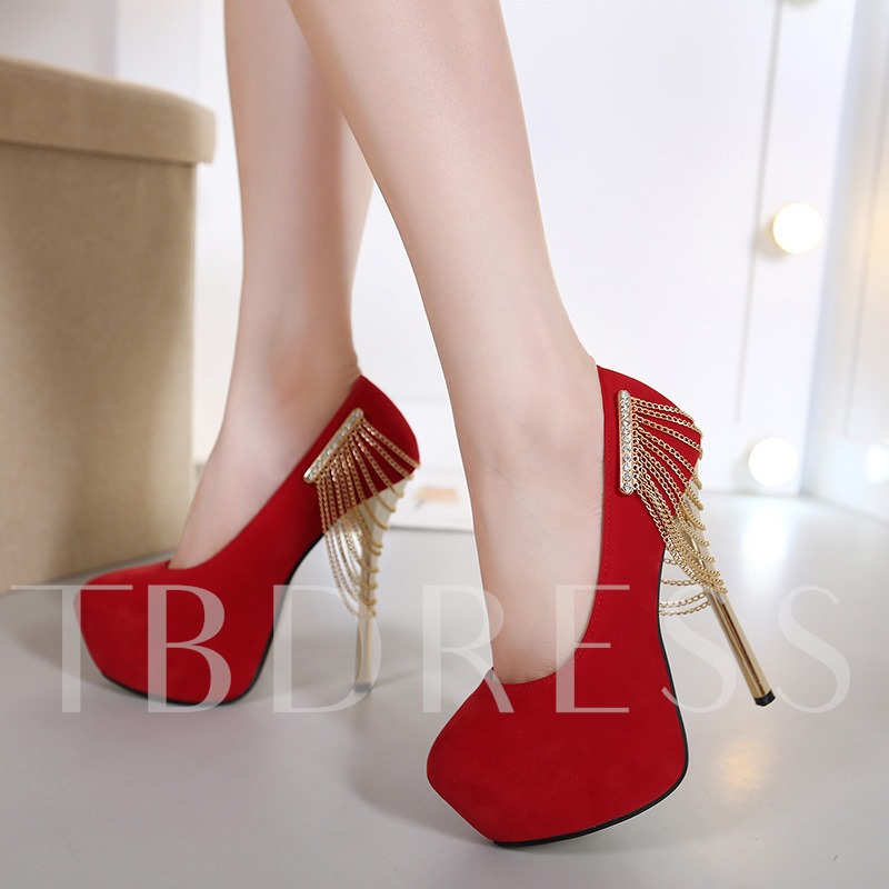 Chain Slip-On Platform Round Toe Flat Heel Women's Pumps