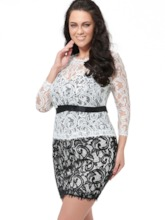 3/4 Sleeve Double-Layered Women's Plus Size Dress