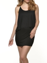 Black Batwing Sleeve Off-The-Shoulder Women's Day Dress