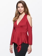 Plain Cold shoulder V-Neck Keyhole Women's Blouse
