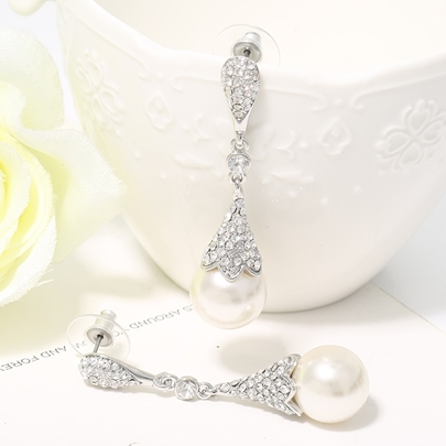 White Alloy Diamante Pearl Pendant Earrings