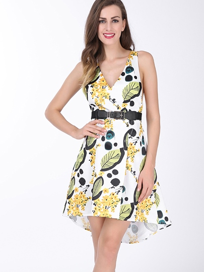 Asymmetrical Print Backless Women's Day Dress (Plus Size Available)