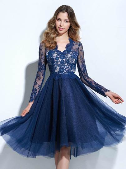 A-Line V-Neck Long Sleeves Button Lace Cocktail Dress