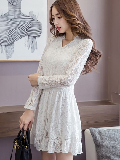 V Neck Single-Breasted Women's Lace Dress (Plus Size Available)