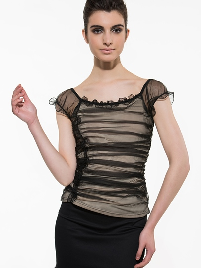 Chic Ruched Chiffon Women's Blouse
