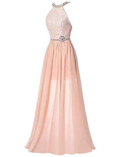 A-Line Halter Beaded Lace Ruched Sequins Prom Dress