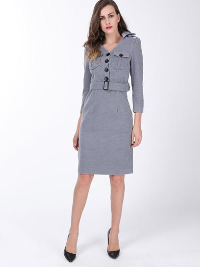 Plain Lapel Single-Breasted Long Sleeve Dress