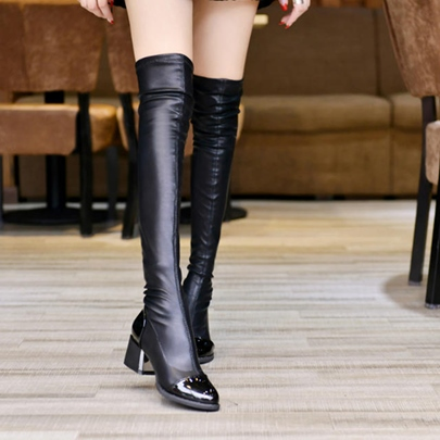 Round Toe Slip-On Chunky Heel Over-the-Knee Women's Boots