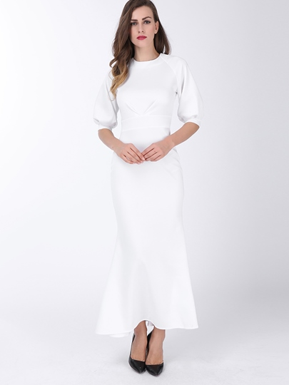 Half Sleeve Plain Fishtail Floor-Length Women's Maxi Dress