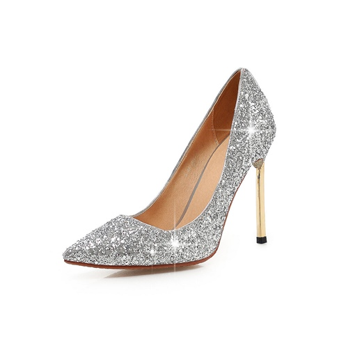 Stiletto Heel Sequins Pointed Toe Slip-On Women's Pumps