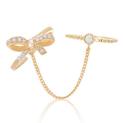 Bowknot Shaped Personalized Zicon Bow Ring Set