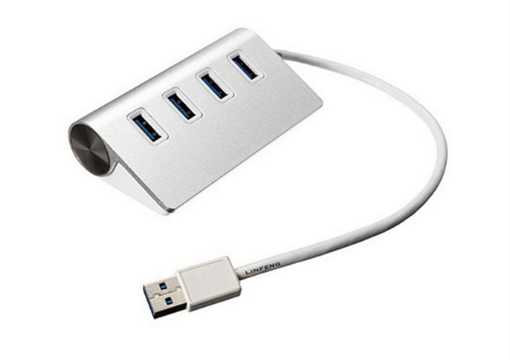 USB 3.0 HUB with 4 Port Silver Aluminum 5Gbps Support Windows XP/Vista/7/8