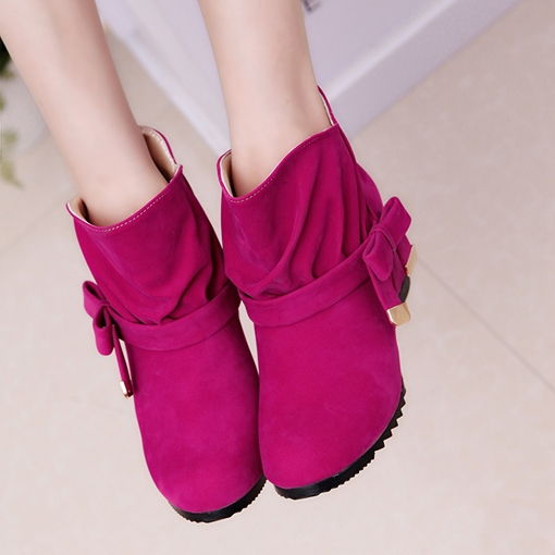 Slip-On Plain Round Toe Ankle Bowtie Women's Boots