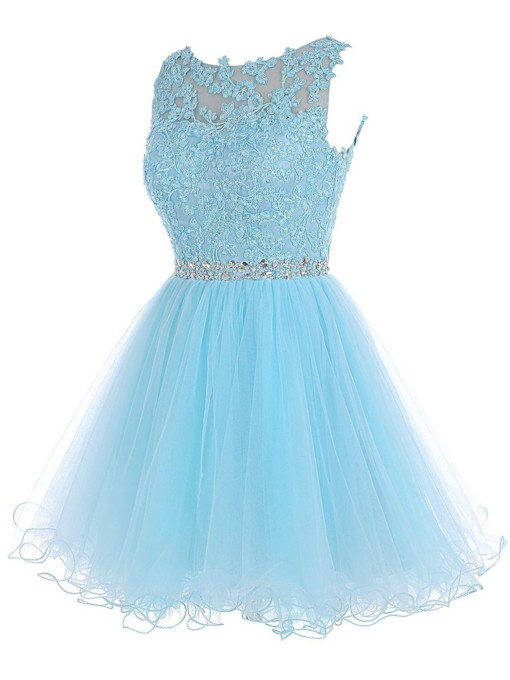 Appliques Beaded Hollow Blue Homecoming Dress 2019